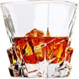 Iceberg Whiskey Glasses, Double Old Fashioned Rocks Glass-Set of 2 with Heavy Base, Lead-Free Crystal Clarity Fits Large Ice Cube - Barware Gift for Men - For Scotch Liquor, Irish Whisky,Bourbon