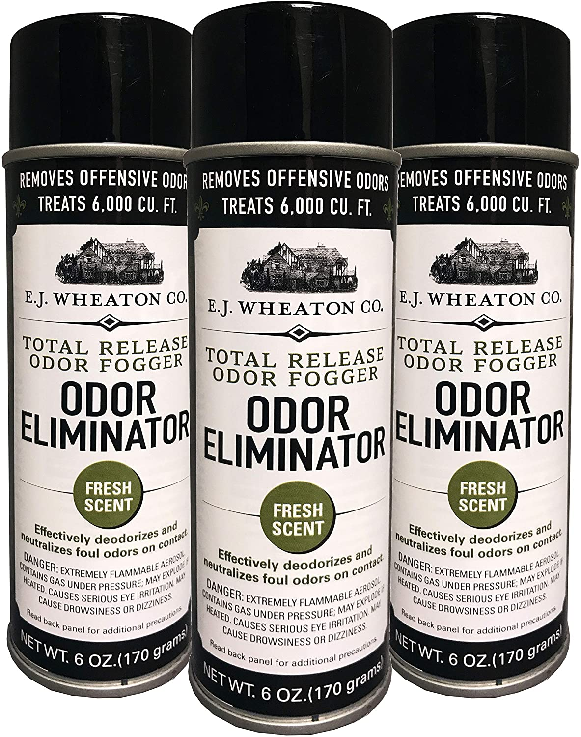 E.J. Wheaton Co. Odor Eliminator, Total Release Odor Fogger, 3 Pack, Effectively Deodorizes and Neutralizes Foul Odors on Contact, Fresh Scent (6 OZ)