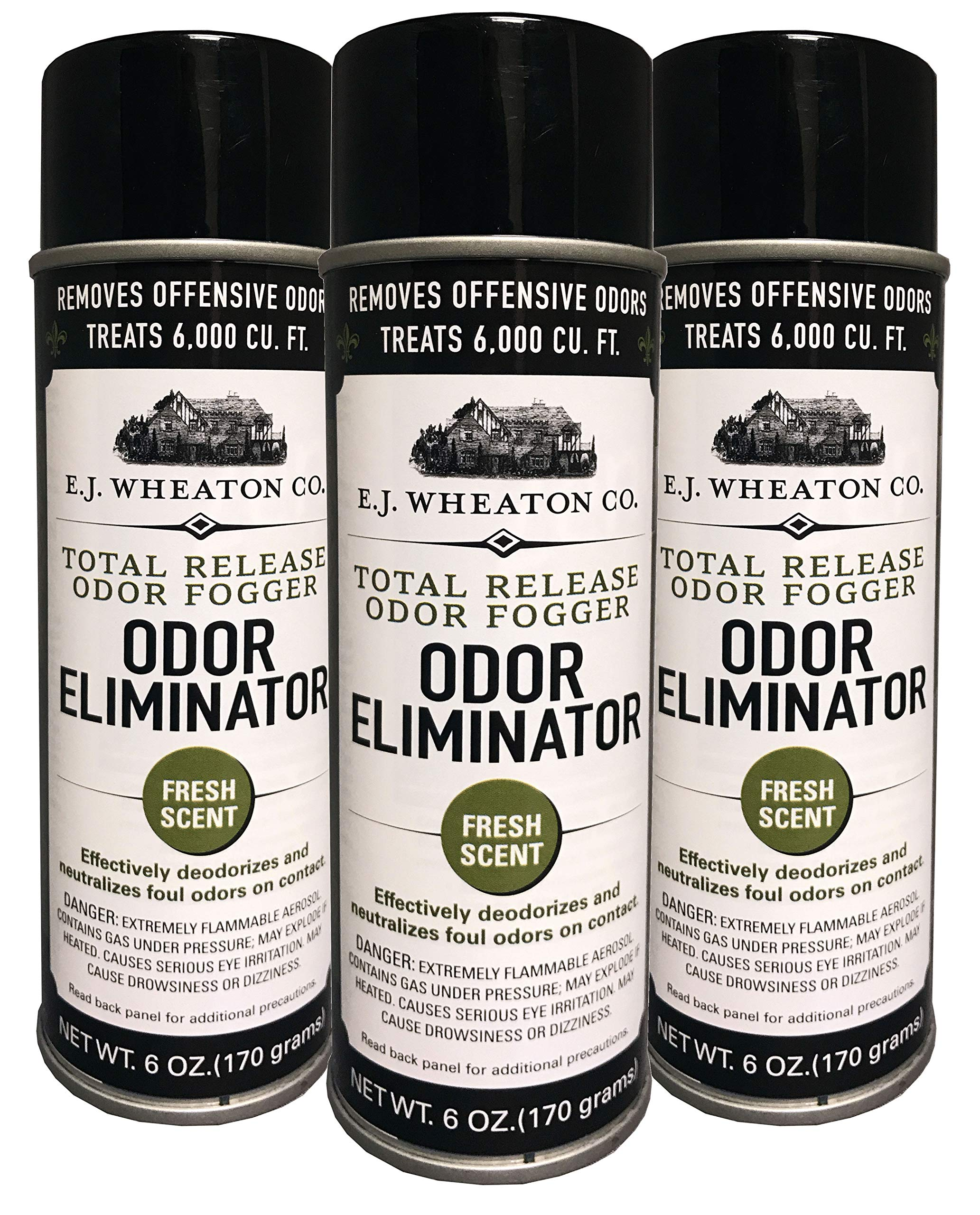 E.J. Wheaton Co. Odor Eliminator, Total Release Odor Fogger, 3 Pack, Effectively Deodorizes and Neutralizes Foul Odors on Contact, Fresh Scent (6 OZ) by E.J. WHEATON CO.