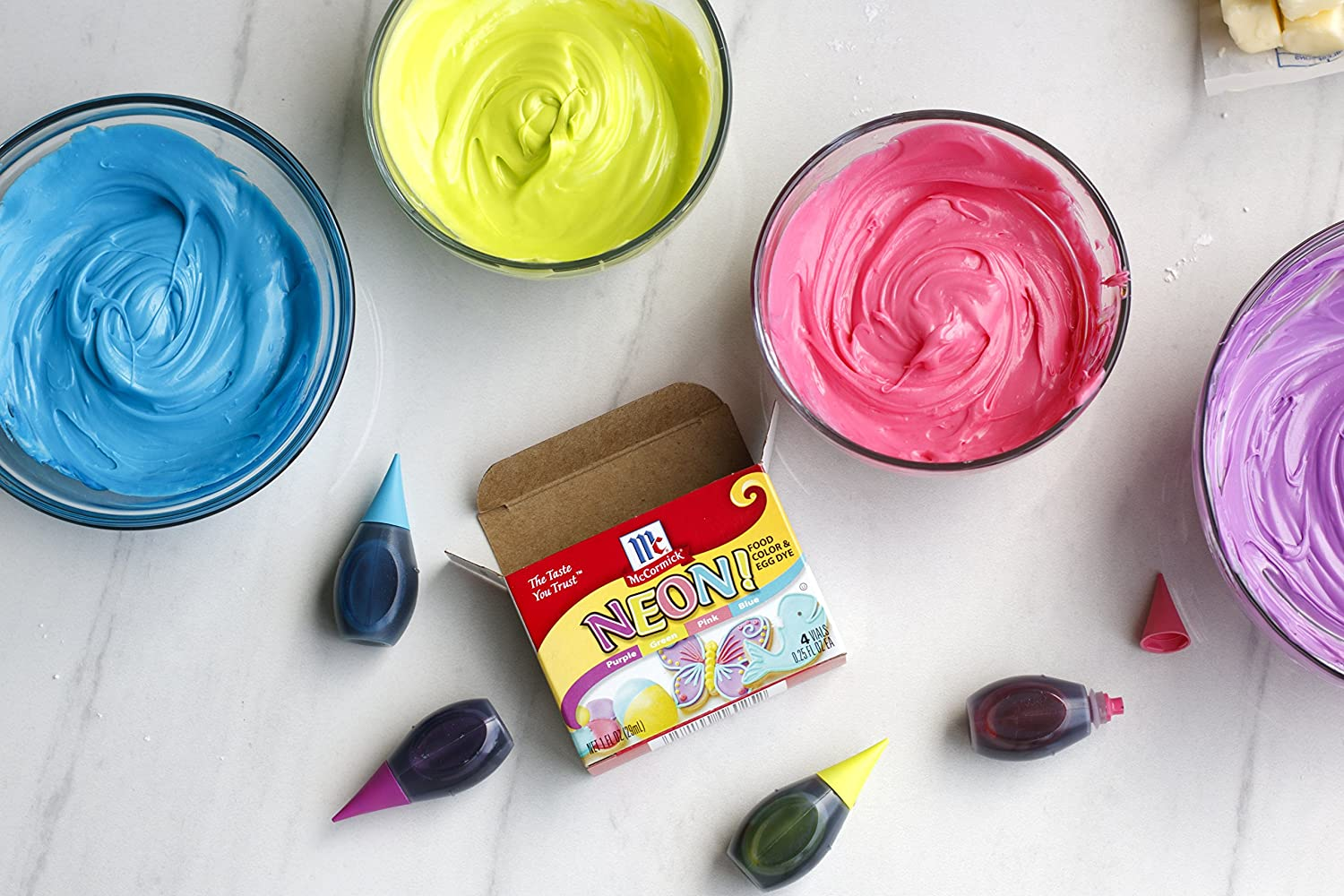 Amazon.com : McCormick Food Colors & Egg Dye, Four Assorted Neon ...