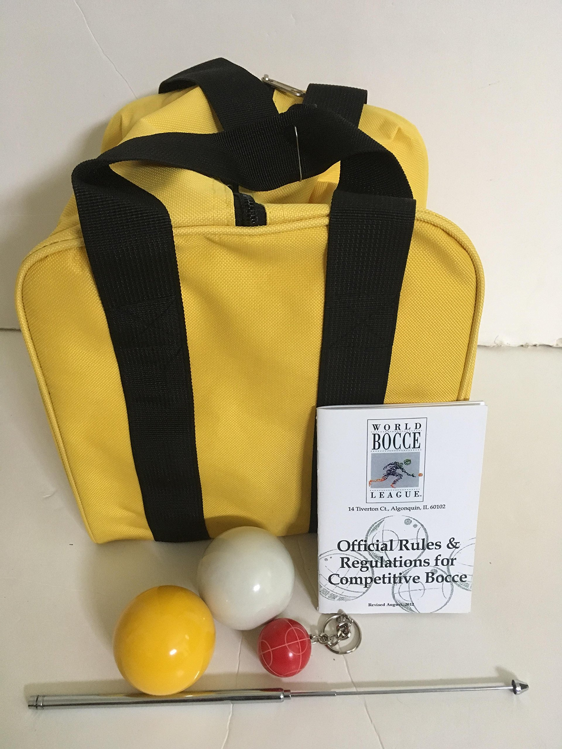 Unique Bocce Ball Accessories Package - Extra Heavy Duty Nylon Bocce Bag (Yellow with Black Handles), yellow and white pallinas, Extendable Measuring Device, Rule Book and Keychain by BuyBocceBalls