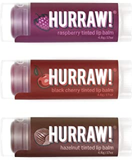 product image for Hurraw! Raspberry Tinted, Black Cherry Tinted, Hazelnut Tinted Lip Balms, 3 Pack Bundle: Organic, Certified Vegan, Cruelty & Gluten Free. Non-GMO, 100% Natural. Bee, Shea, Soy & Palm Free. Made in USA