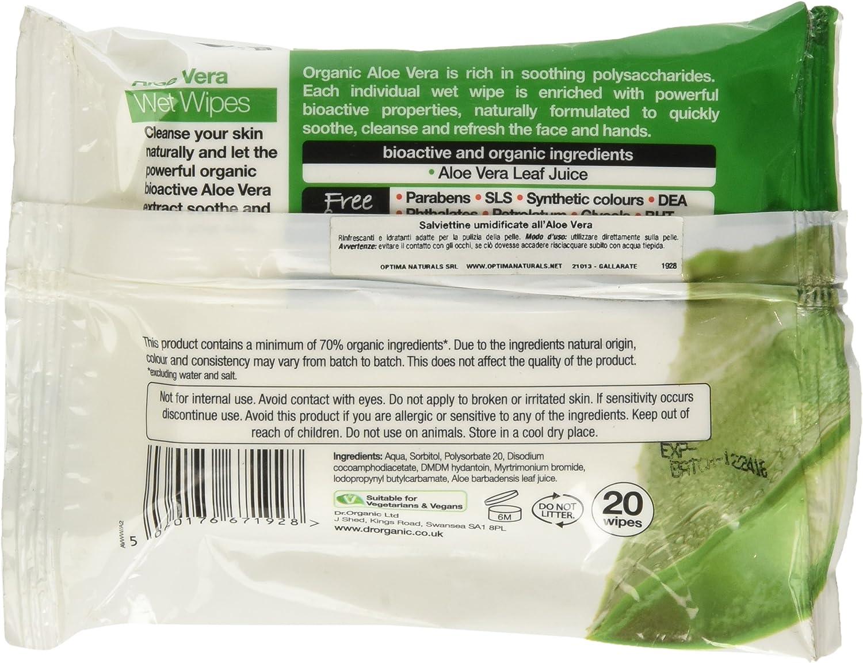 Dr.Organic Toallitas h/úmedas Aloe Vera,1 paquete de 20 piezas
