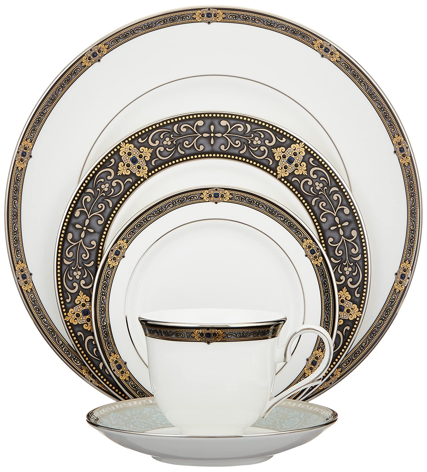 Amazon.com | Lenox Vintage Jewel Platinum-Banded Bone China 5-Piece Place Setting Service for 1 Lenox Vintage Jewel China Plates  sc 1 st  Amazon.com & Amazon.com | Lenox Vintage Jewel Platinum-Banded Bone China 5-Piece ...
