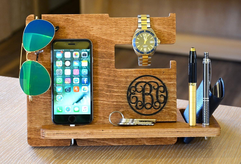 Wooden Docking Station Wood Docking Station Cell Phone Dock Mens dock Personalized Valet Mens Wood docking station gift ideas for men