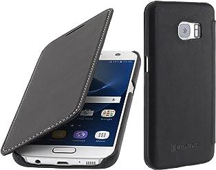 StilGut Housse pour Samsung Galaxy S7 en Cuir véritable à Ouverture latérale, Noir Nappa
