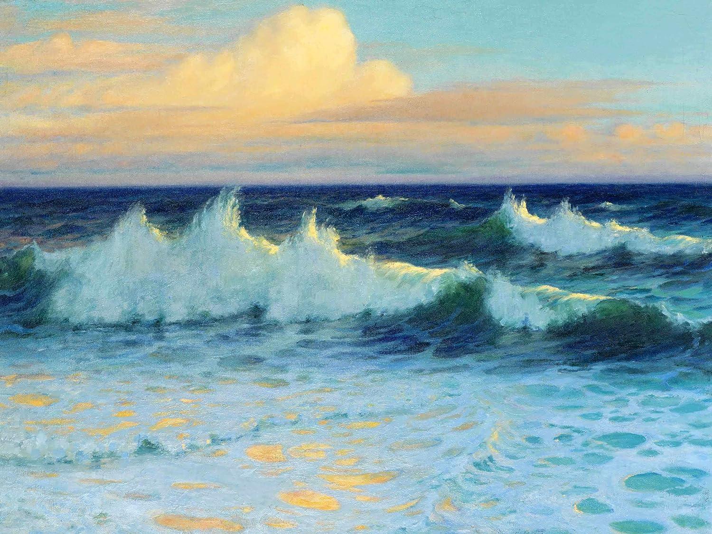 Seascape waves sea by L. Walden Tile Mural Bathroom Backsplash ...