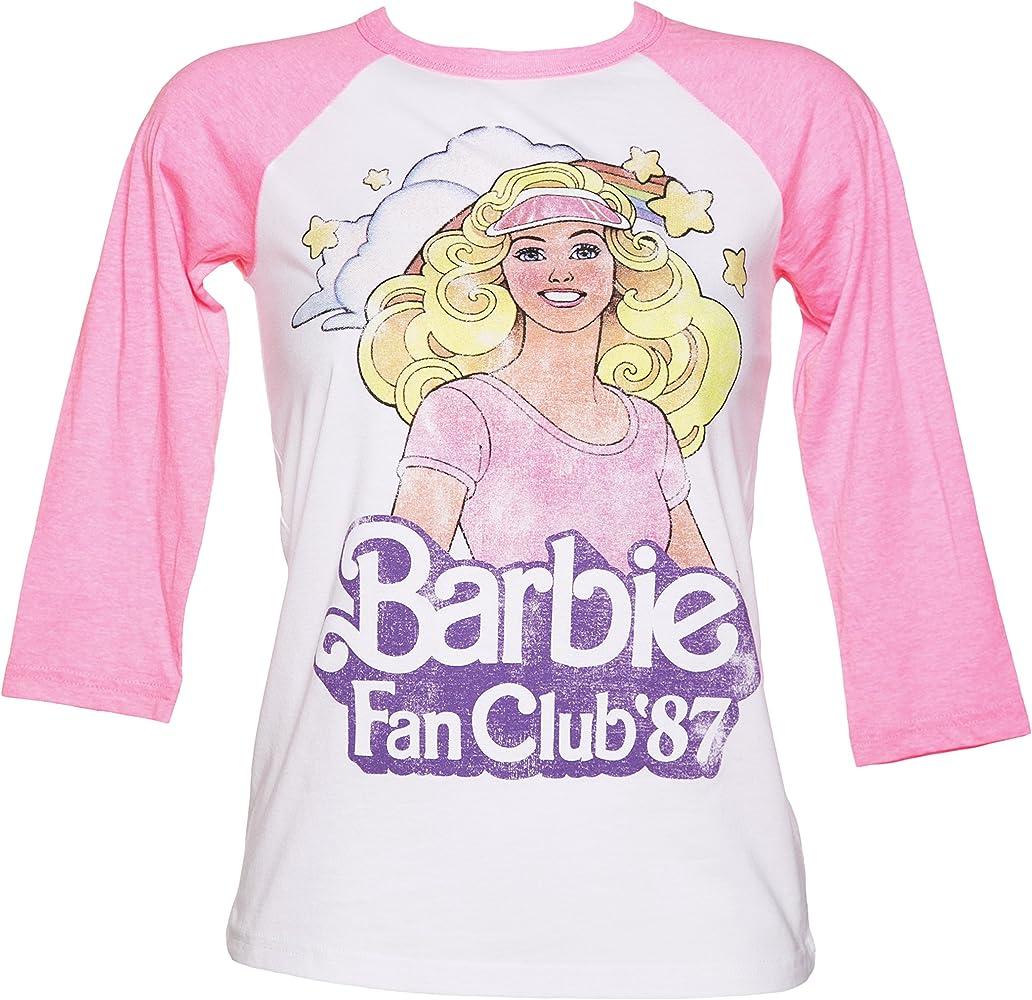 para Mujer Barbie Club de Fans 87 T de béisbol raglán Camiseta - Blanco -: Amazon.es: Ropa y accesorios