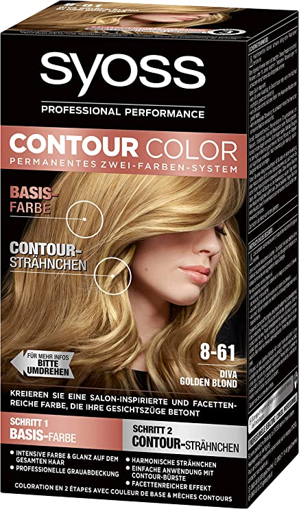 SYOSS Contour Color Nivel 3 8-61 Diva Gold Blond, sistema permanente de dos colores, 1 unidad (183 ml)