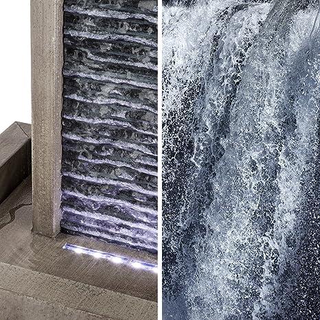 Blumfeldt Imperia - Fuente de jardín, Fuente Decorativa, Bomba de 10 W, Protección IPX8, Canal de Agua de 35 x 75 cm, 10 m de Cable, LED, para Exteriores e Interiores, Galvanizado, Gris: Amazon.es: Jardín