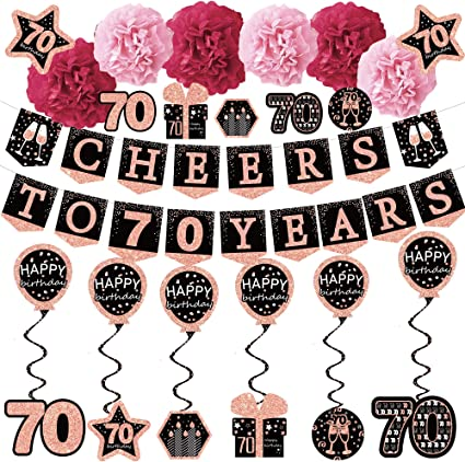 Cheers To 70 Years 70th Birthday Glitter Banner Party Banner Decoration