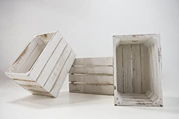 DECORANDO CON SAM Set 3 Unidades Cajas de Madera Blancas Vintage, 30x20x20cm, Incluye Imán Personalizable de Regalo.: Amazon.es: Hogar