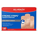All Health Heavy Fabric Strong Strip Adhesive Bandages, 1 in x 3 in, 180 ct | Durable Protection for First Aid and Wound…