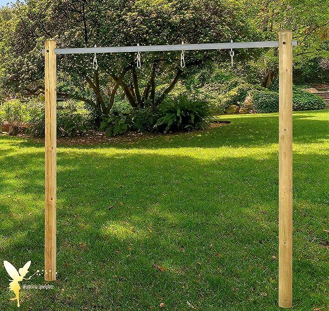 Balancín estructura de madera Columpio balancín doble con tubo de acero Barra: Amazon.es: Juguetes y juegos