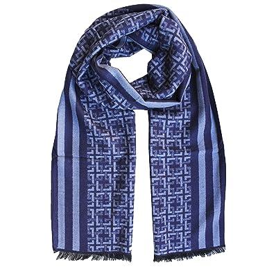 FERETI Echarpe Homme Soie Bleu A Large Rayures Et Tartan Abstract Carreaux  Foulard Automne Hiver 945db4f3510