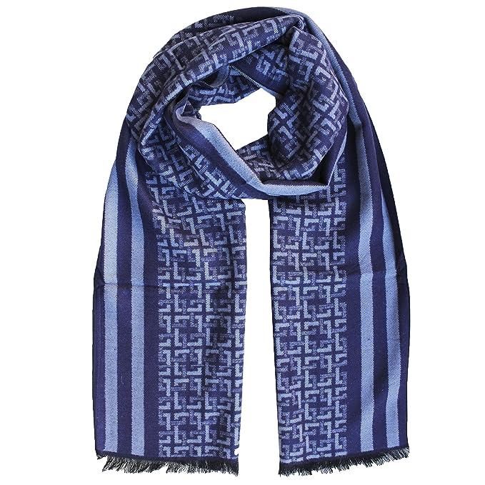 molto carino 832e7 1a322 FERETI® Sciarpa Uomo Blu Di 100 Seta Puro Grossa Tartan ...
