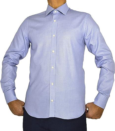 MECCI Camicia Uomo Made in Italy 100/% Cotone Non Stiro Operato Azzurro Slim Fit Manica Lunga E