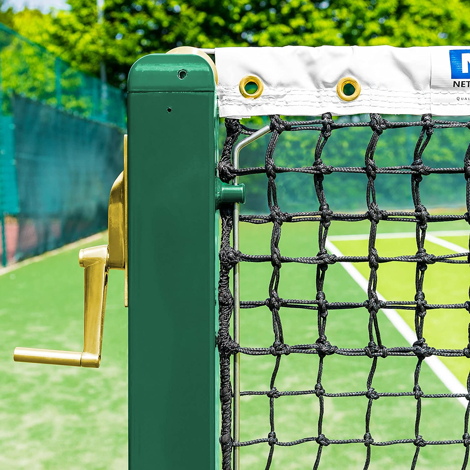 76 Powder Coated Steel Vermont Square Tennis Posts Optional Ground Sockets | ITF Regulation Posts