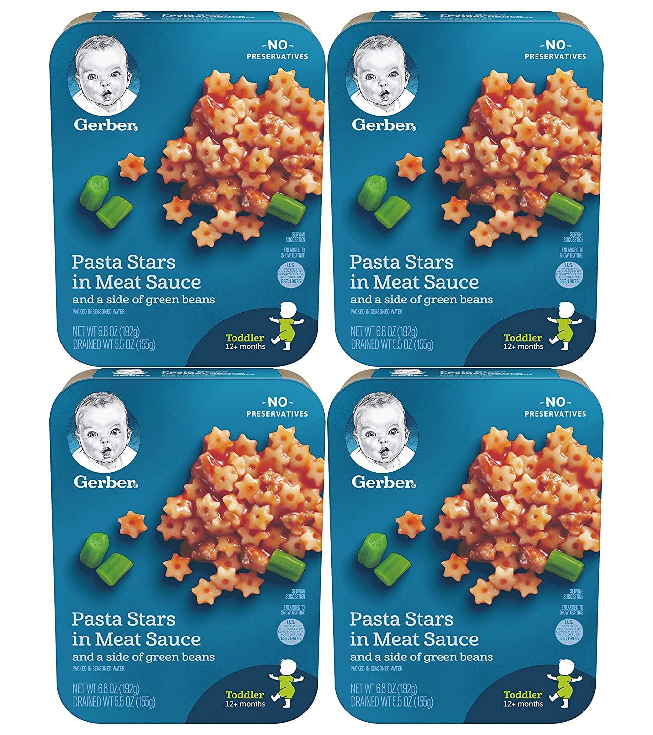 Gerber Lil Entrees Toddler Dinners, Pasta Stars in Meat Sauce with Green Beans, 6.8 Ounce (Pack of 4)