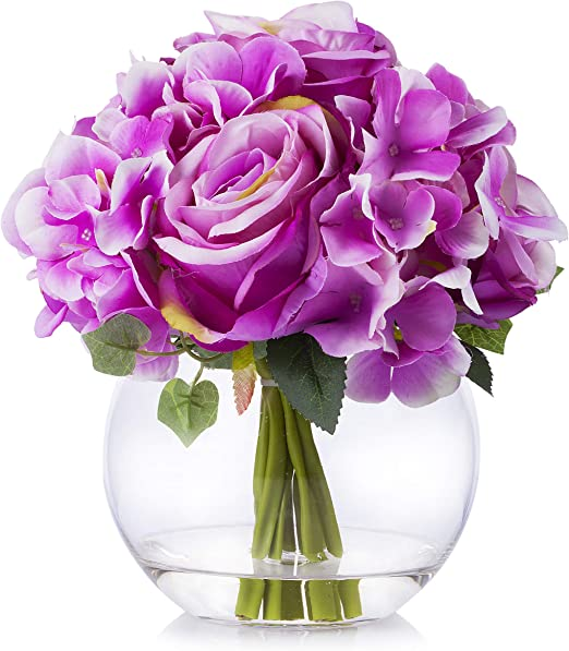 Amazon Com Enova Home Mixed Silk Blooming Hydrangea And Rose Flower Arrangement In Clear Glass Vase With Faux Water For Home Wedding Decoration Purple Home Kitchen