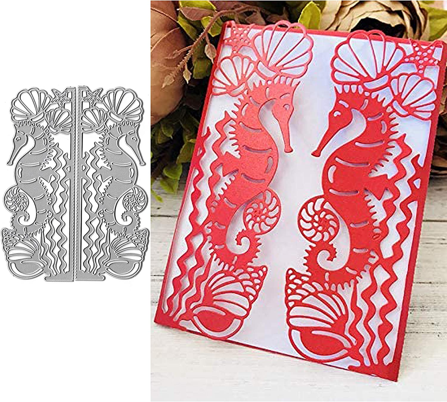 Flower Leaf Metal Die Cuts,Flower Frame Background Christmas Wedding Invitation Cutting Dies Cut DIY Card Making Stencils Scrapbooking Photo Album Paper Embossing