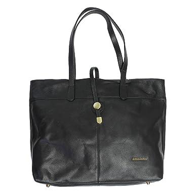 Amazon.com: Stella & Max Genuine Leather Tote Bag (Black): Clothing