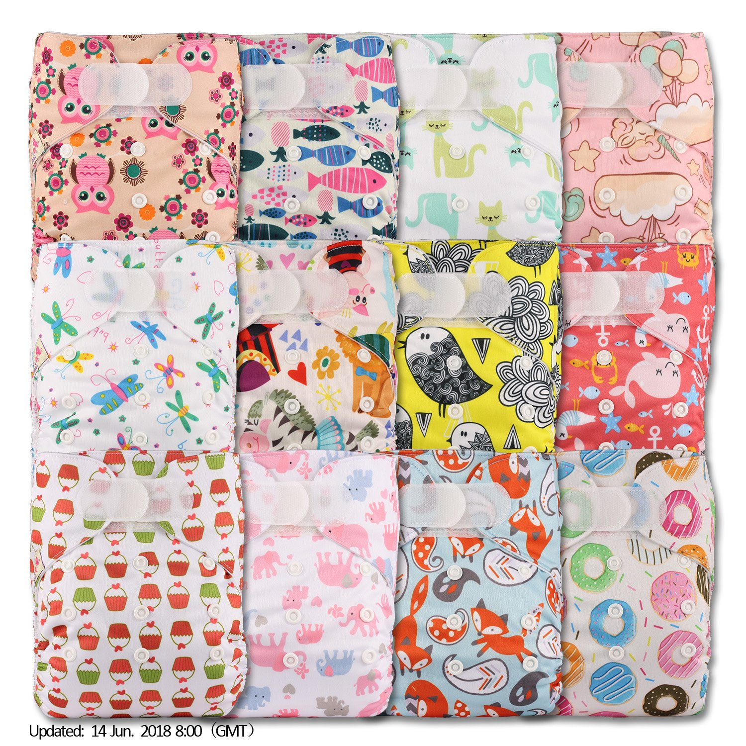 Littles & Bloomz, Reusable Pocket Cloth Nappy, Fastener: Hook-Loop, Set of 12, Patterns 1201, Without Insert