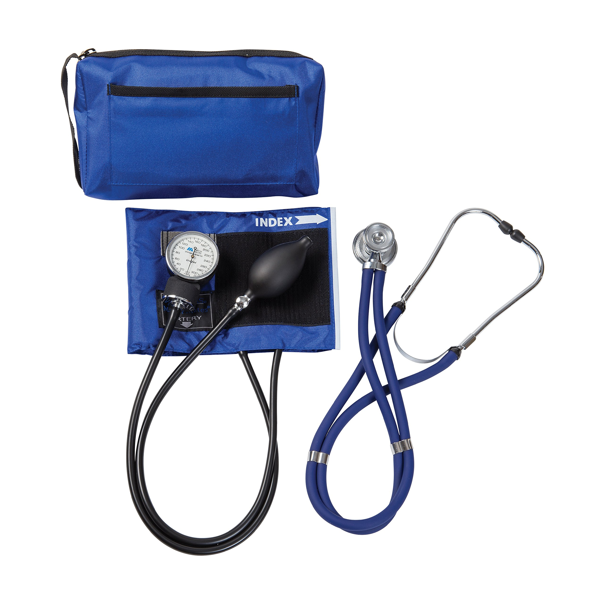 MABIS MatchMates Aneroid Sphygmomanometer and Sprague Rappaport Stethoscope Combination Manual Blood Pressure Kit with Calibrated Nylon Cuff, Professional Quality, Carrying Case, Royal Blue