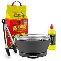 Special Grill kleiner schwarz Edelstahl Stahl Kunststoff Exclusive Camping Balkon Picknick ✔ rund ✔ tragbar rauchfrei ✔ Grillen mit Holzkohle ✔ für den Tisch