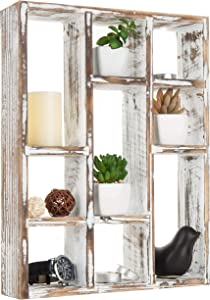 MyGift Vintage Whitewashed Wood Freestanding & Wall Mountable 9-Slot Shadow Box Display Shelf