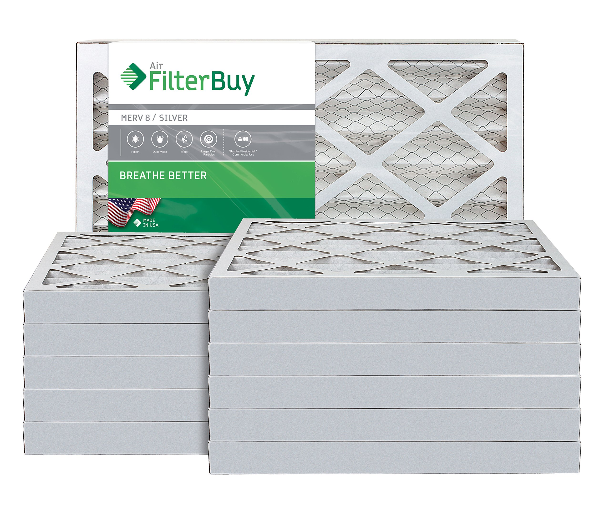 AFB Silver MERV 8 16x25x2 Pleated AC Furnace Air Filter. Pack of 12 Filters. 100% produced in the USA.