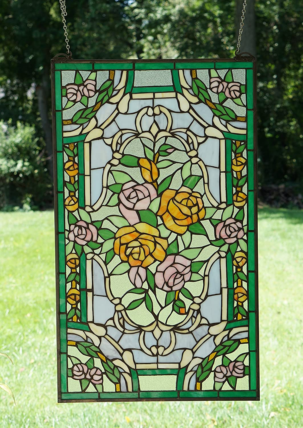 """9/"""" x 36/"""" Handcrafted stained glass window panel Rose Flowers"""