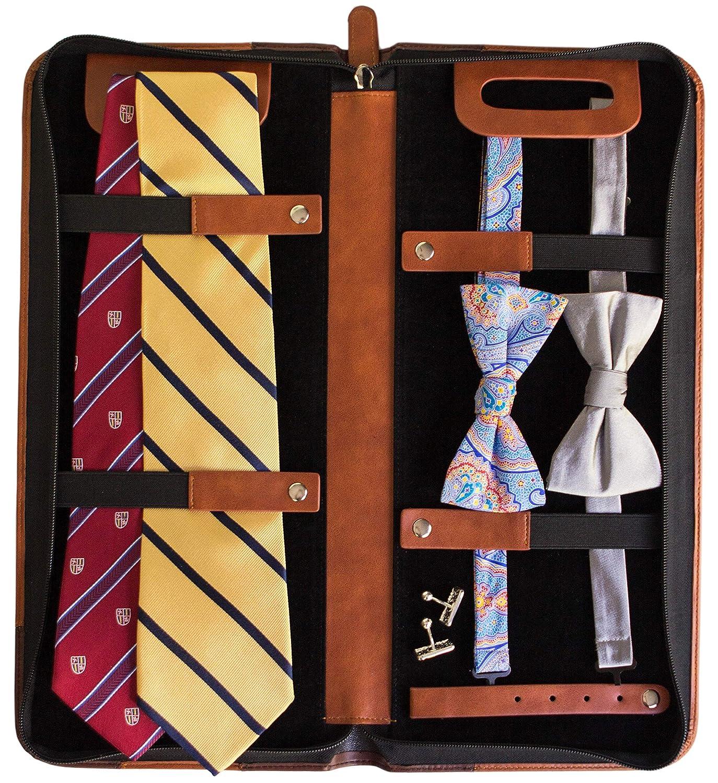 Organizador de 6 Corbatas de Case Elegance Estuche de Viaje para Corbatas de Cuero Vegano