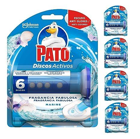 Pato - Discos Activos WC Marine, aplicador y recambio con 6 discos [Pack de 5]