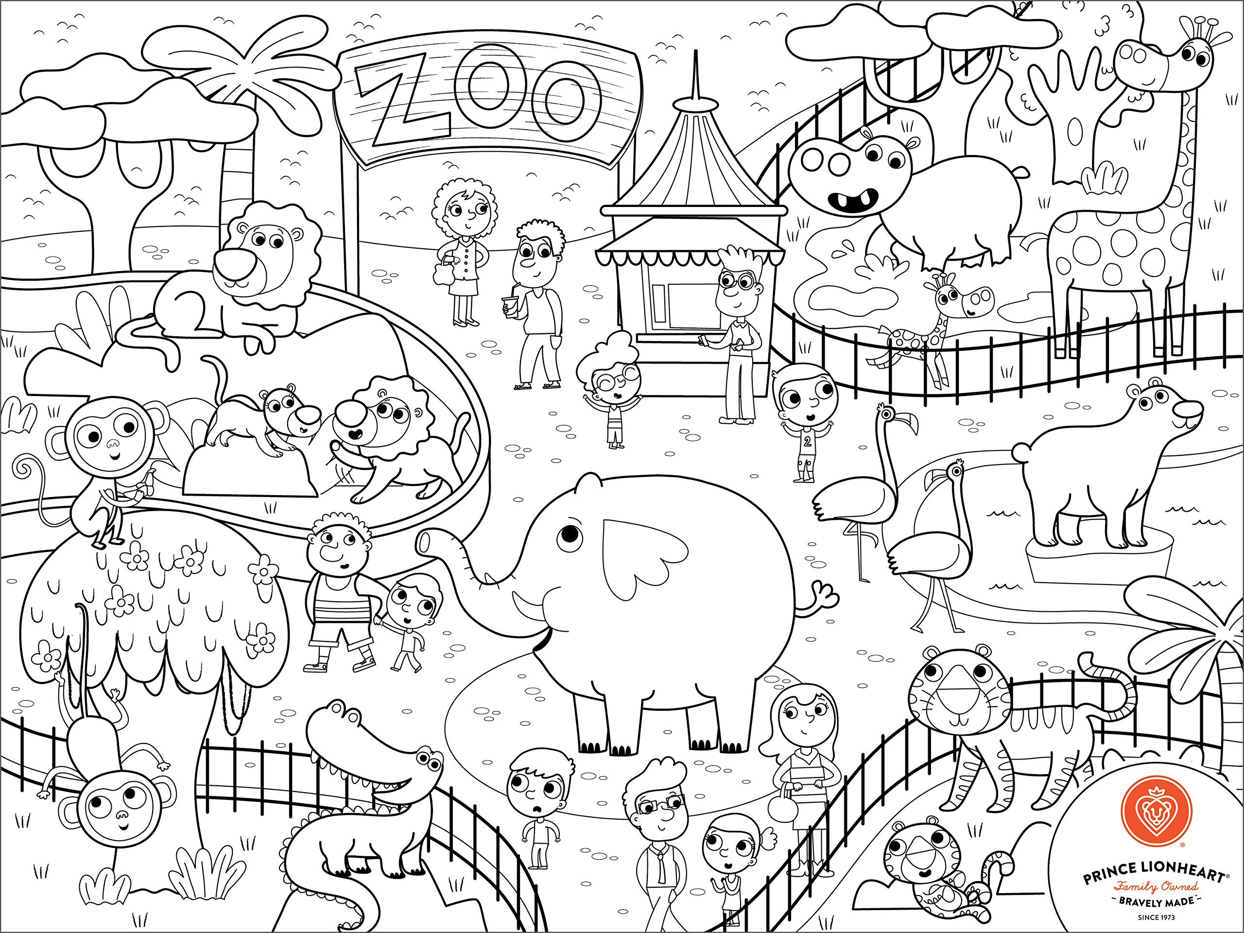 Prince Lionheart Color and Draw Reusable Silicone Placemat with Markers and Travel Sleeve, Zoo