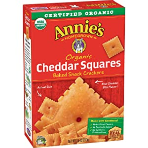 Annie's Cheddar Squares, Baked Cheese Crackers, 7.5 Oz Box