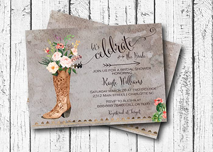 cowboy bridal shower invitation western shower flower baby shower invitation bohemian country
