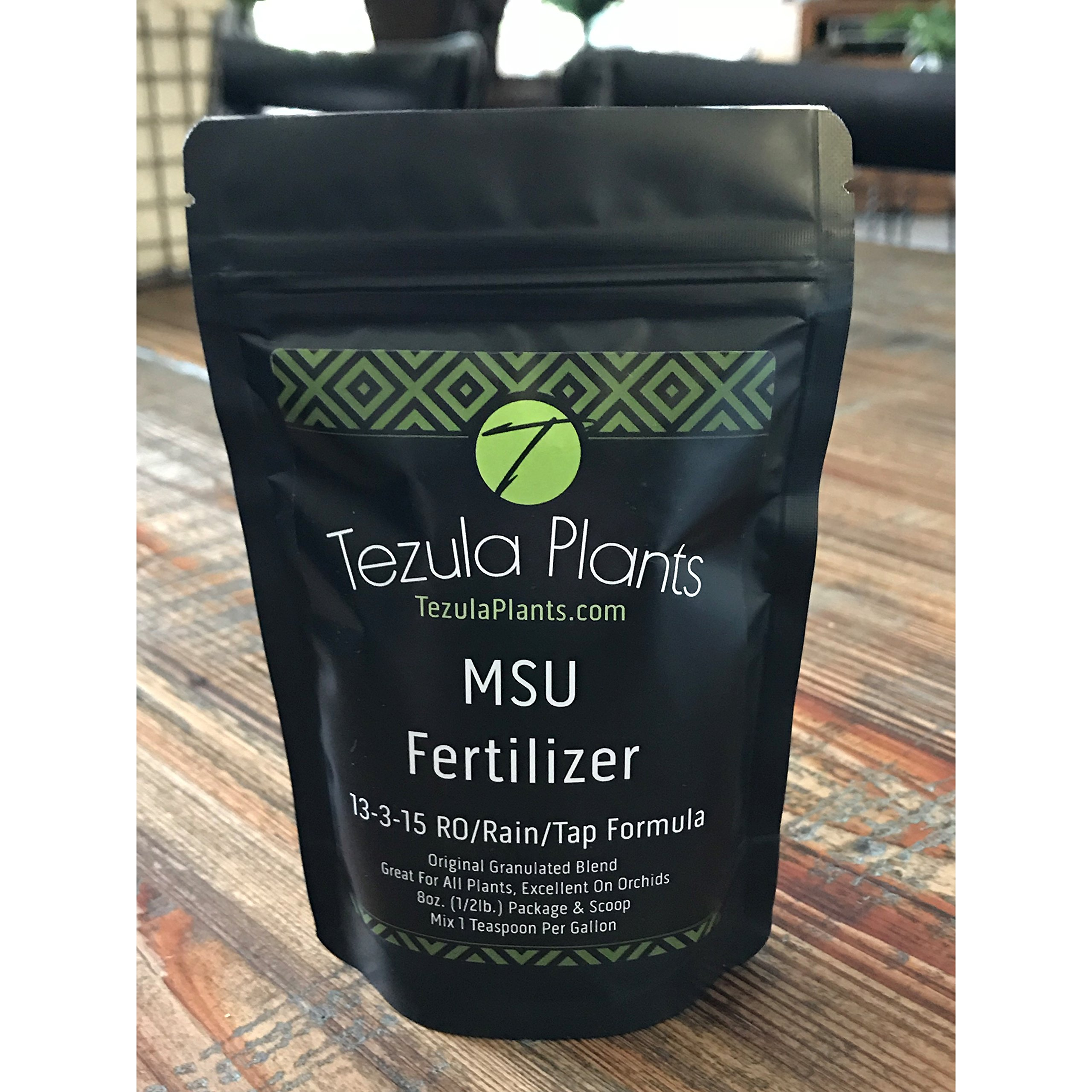 MSU Orchid Fertilizer 13-3-15 Reverse Osmosis, rain, tap Water Formula. 1/2 Pound with Scoop & Usage Guide (Greencare)