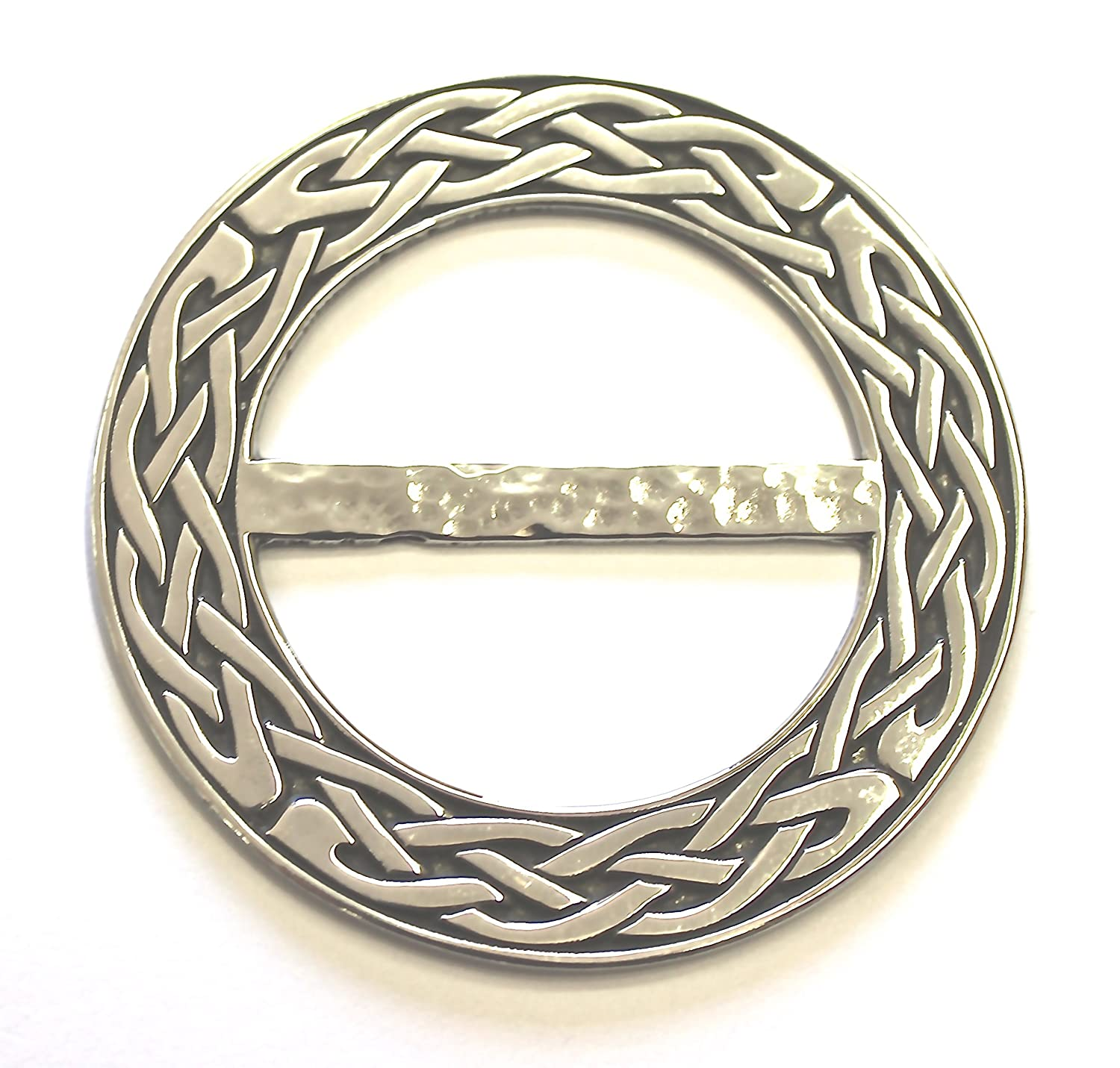 Made in Scotland Large Celtic Knot Pewter Scarf Sash Plaid Ring