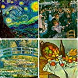 """CoasterStone AS9565 """"Impressionists Collection"""" Absorbent Coasters, 4-1/4-Inch, Set of 4"""