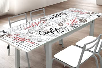 Abitti Mesa de Cocina Extensible en Cristal Templado y Estructura Gris 170x70cm con serigrafía, Ideal para Cocina