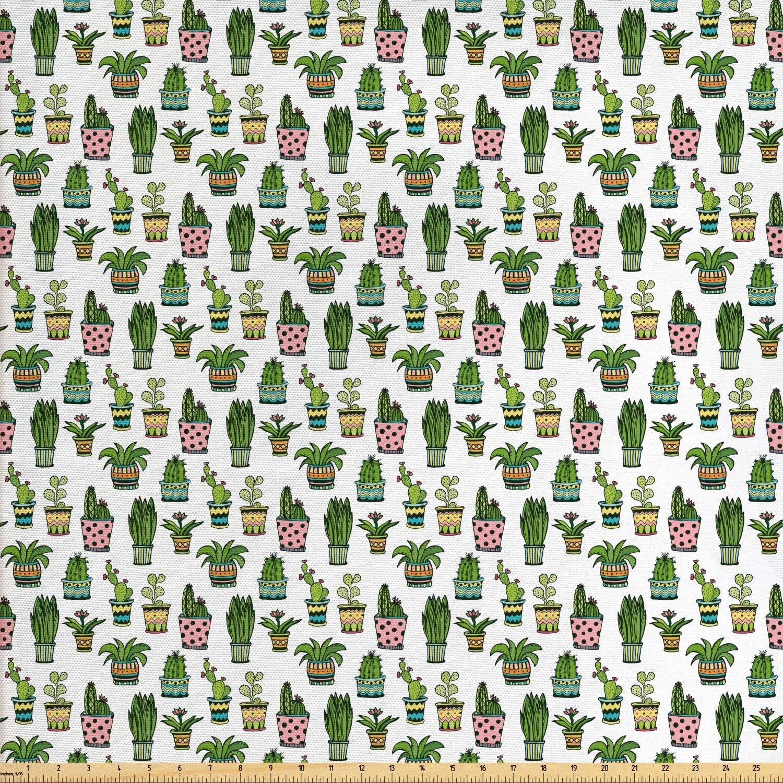 Cotton Fabric Fabric Decorative Fabric Digital Printing Cactus Grey Green