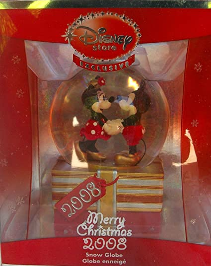 disney mickey mouse club house christmas 2008 mickey and minnie snow globe - Mickey Mouse Christmas House Decorations