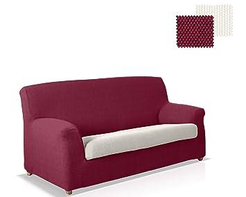 JM Textil Funda para sofá Color Rojo y Marfil 3 plazas ...