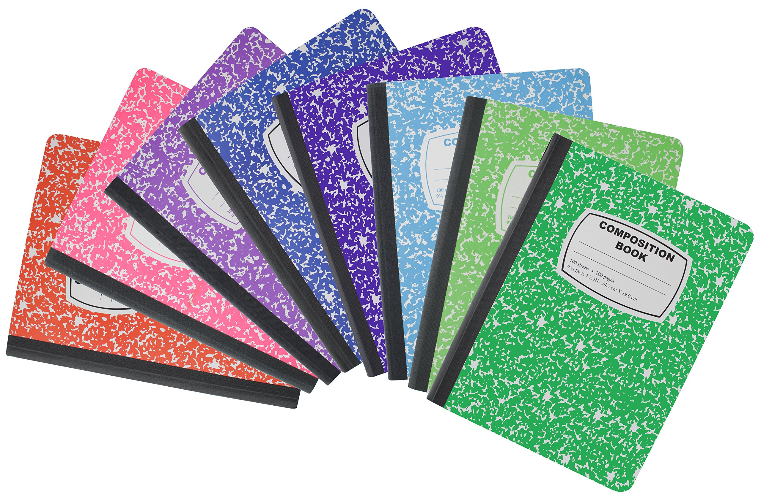 Emraw Dark/Neon Colors Cover Composition Book with 100 Sheets of Wide Ruled White Paper (8 Pack)