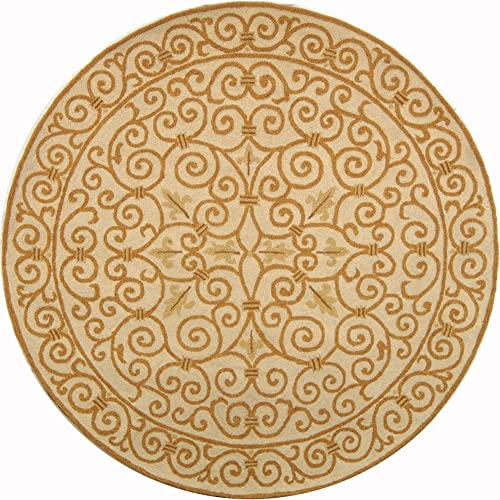 Safavieh Chelsea Collection HK11P Hand-Hooked Ivory and Gold Premium Wool Round Area Rug 8' Diameter