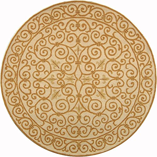 Safavieh Chelsea Collection HK11P Hand-Hooked Ivory and Gold Premium Wool Round Area Rug 3 Diameter