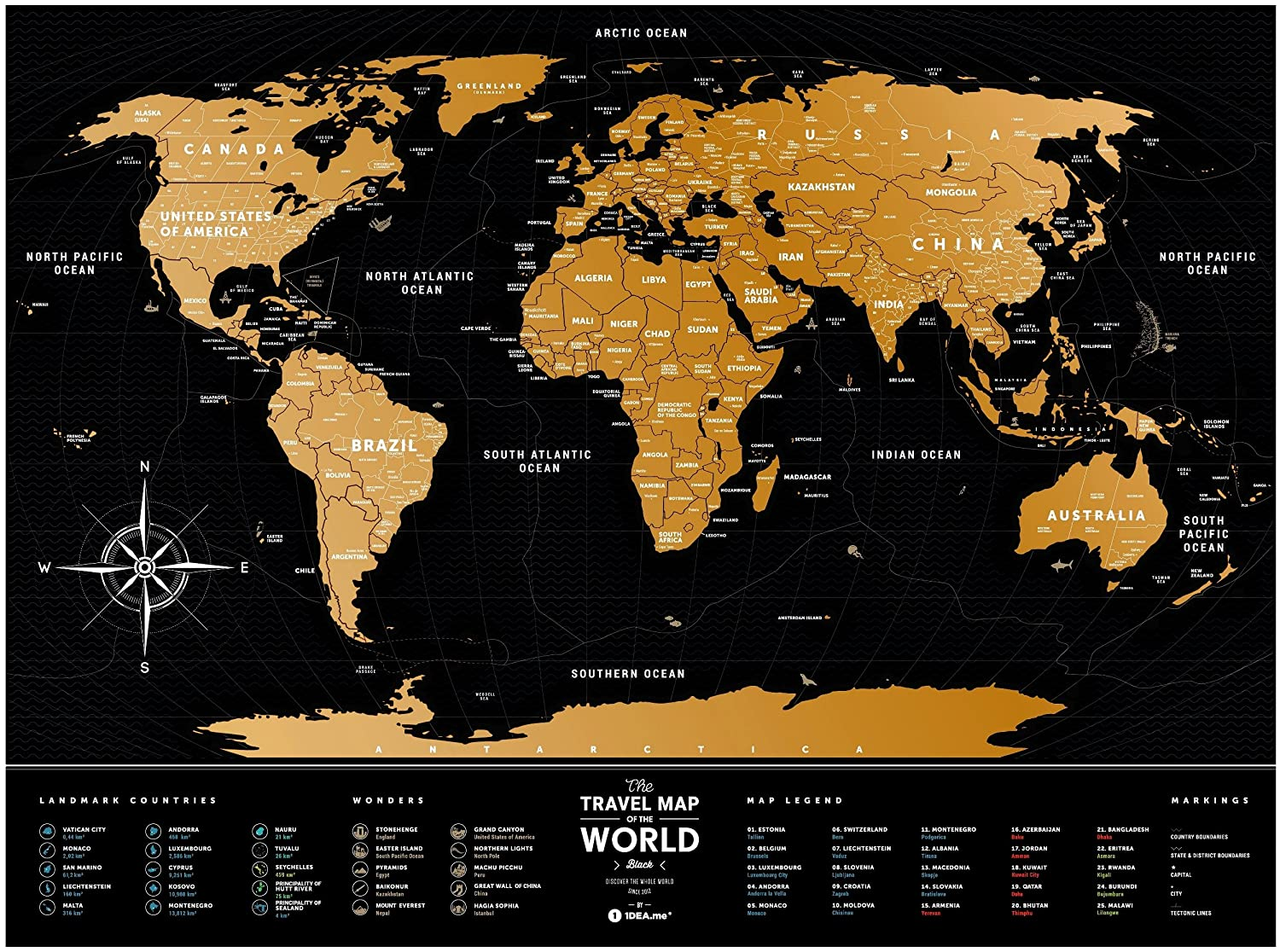 Amazon Com Scratch Off World Travel Map 1dea Me Black Scratchable Poster Of The World Usa Interactive Modern Geography Maps Travel Tracker Wall Art
