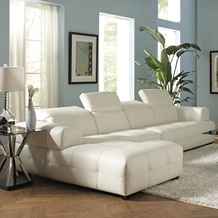Coaster Darby Contemporary White Sectional Sofa With Wide Chaise And  Adjustable Headrests