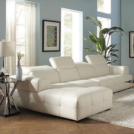 Coaster Home Furnishings 503617 Contemporary Sectional Sofa White : sectional white - Sectionals, Sofas & Couches